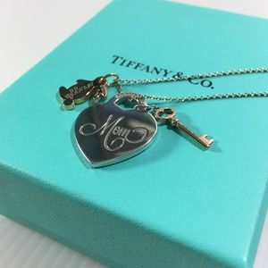T & Co. Mom, key and snuggle bunny necklace